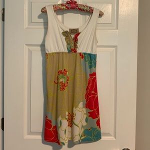 Judith March Cream and Floral Multi-Color Dress